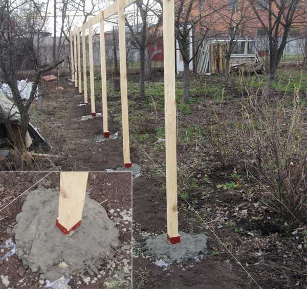 Установка деревянных опорных элементов