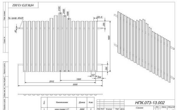 Размерный план ограды из металла