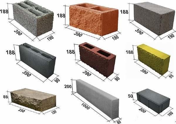 Рисунок с размерами блоков