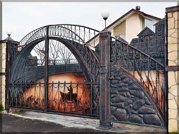 Узоры на воротах из металла